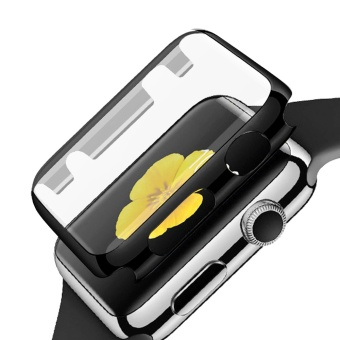 Fully Coverage Watch Screen Protector Shell PC Plating Abrasion-resistant Anti-scratch Protective Cover with Bumper for Apple Watch iWatch Series 1 42mm Black - intl