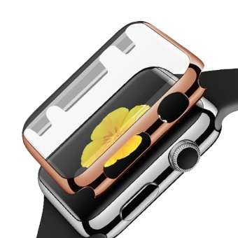 Fully Coverage Watch Screen Protector Shell PC PlatingAbrasion-resistant Anti-scratch Protective Cover with Bumper forApple Watch iWatch Series 1 42mm Rose-gold - intl