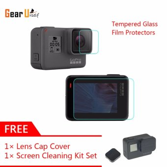 GearUshop Ultra Clear Tempered Glass Film Protector (LCD Screen and Lens) + Cleaning Tools Kit Set + Free Gift Lens Cover Cap For GoPro Hero 5 Black Action Sports Camera - intl
