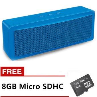 Genesis B-21 Mini Portable Bluetooth Speaker (Blue) with FREE 8GB Memory Card