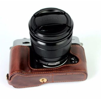Genuine Leather Camera Case For FujiFilm Fuji XT10 X-T10 XT20 XT-20Leather Camera Half Bag Body Set bottom Cover Open - intl