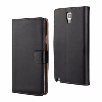 Genuine Leather Wallet Case Cover for Samsung Galaxy Note 3 Neo (Black) - intl