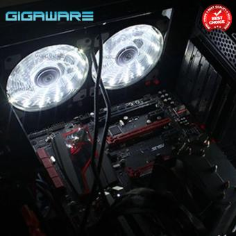 Gigaware Chassis 15 Colorful LED 12 cm Long Cooling Fan 3PIN plus 4P (White) set of 4 - 3
