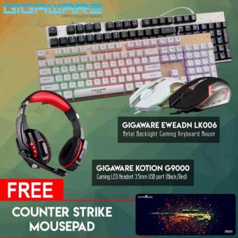 Gigaware EWEADN LK006 Metal Backlight Gaming Keyboard Mouse +Gigaware Kotion G9000 Gaming LED Headset 3.5mm USB port (Black/Red)with free Counter strike mousepad