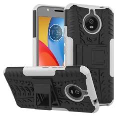 Heavy Duty Armor Case For Motorola Moto E4 Plus Dual LayerShockproof Kickstand Protective Cover White -