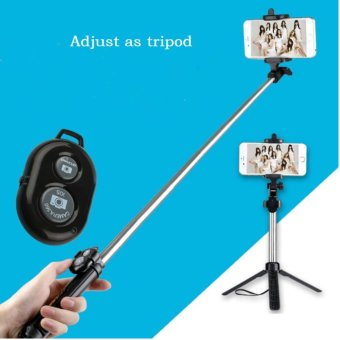 High Quality Multi Function Build In Tripod Selfie Stick With Bluetooth Extendable Folding Stick for Smartphone - intl