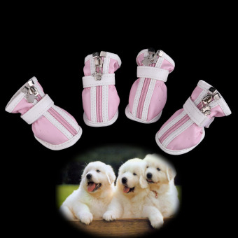 Hot PU Comfortable Boots Waterproof Shoes For Small Big Pet Dog Pink No.5 (Intl) - picture 2