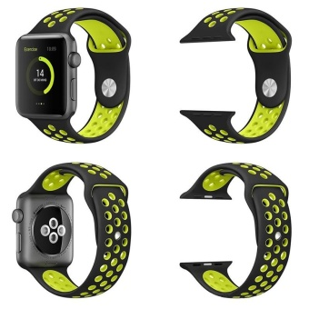 Hot Sales Hot Sales 42mm 1:1 Size Strap Silicon Sports Watch BandStrap for Apple Watch - Black and Grey - 4