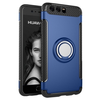 Hybrid Armor Case For Huawei P10 Anti-slip Carbon Fiber TPU + PCBack Cover with Ring Grip/Stand Holder Blue - intl