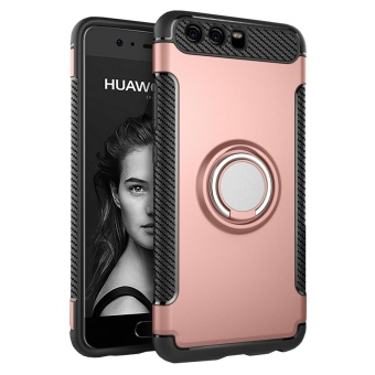 Hybrid Armor Case For Huawei P10 Plus Anti-slip Carbon Fiber TPU +PC Back Cover with Ring Grip/Stand Holder Rose Gold - intl