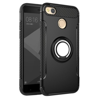 Hybrid Armor Case For Xiaomi Redmi 4X Anti-slip Carbon Fiber TPU +PC Back Cover with Ring Grip/Stand Holder Black - intl