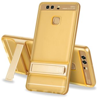 Hybrid TPU + PC Bumper Case For Huawei P9 Dual Layer Anti-ScratchKickstand Protective Cover Gold - intl