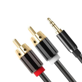 Ideal1 24K copper plated connectors copper alloy Stereo 3M Jack3.5mm to 2RCA Audio Cable Plug Adapter Connector