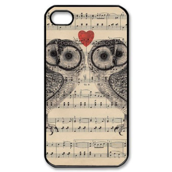 Harga Leegoal Lover Owl on Sheet Music Image Hard Case Cover for IPhone4 4G 4S - intl