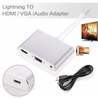 Harga LYBALL 3 in 1 Lightning 8Pin to HDMI/VGA/Audio TV Digital Airplay Adapter Converter for iPhone 6 7 /iPad Silver - intl