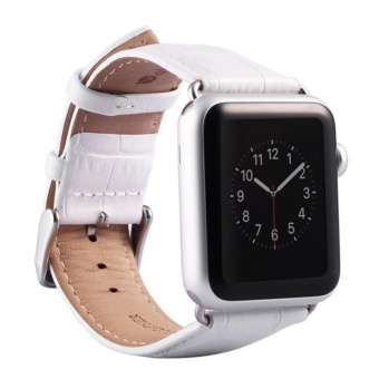 Harga Apple Watch Band - iWatch Bands 38mm Genuine Leather Strap iPhone Smart Watch Band Bracelet Replacement Wristband with Stainless Steel Adapter Metal Clasp for Apple Watch 2 1 - intl