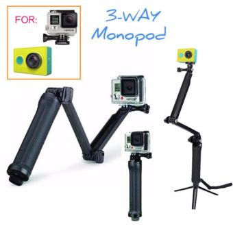GoPro Accessories 20cm Collapsible 3 Way Monopod Mount Camera Grip Extension Arm Tripod Stand for Gopro Hero 4 2 3 3+ 2 1 SJ4000 Price Philippines