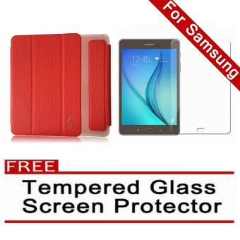 iCase Slim Book Cover for Samsung Galaxy Tab A (2016) 7.0 (SM-T280 T285) (Red) with FREE Tempered Glass Screen Protector (Clear) Price Philippines