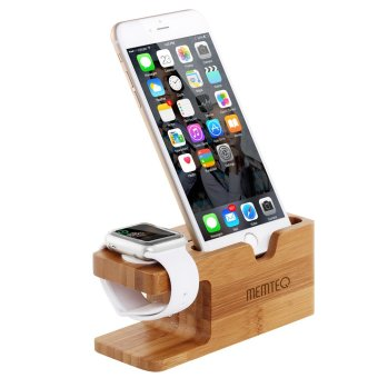 Harga Bamboo Dock Station Charger Charging Stand Holder For Apple Watch iWatch iPhone (Brown)