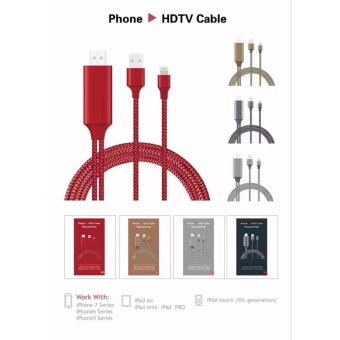 Harga iPhone HDMI Cable Lightning Braided Cable MHL 8-Pin to 1080p HDMI Adapter Cable for iPhone 5 5s 5c 6 6s 7 7plus iPad 4 Mini Air Plug and Play - intl