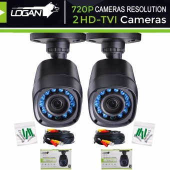 Harga Logan L-DX421M HD TVI Plastic Bullet CCTV Weatherproof IP66 Indoor/ Outdoor 24IR LED Night Vision 720P 1MP with 60ft (18.3m) Video Cable Replacement/Extra Cameras (Set of 2)-ONLY for LOGAN XVR KIT or TVI-DVR