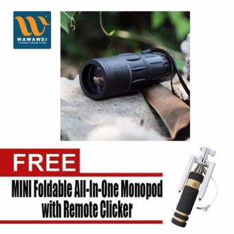Bushnell Monocular Muti-Coated Optics with Free Mini Foldable All-In-One Monopod with Remote Clicker (Black) Price Philippines
