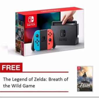 Harga Nintendo SWITCH with Neon Blue and Neon Red Joy‑Con with Free The Legend of Zelda