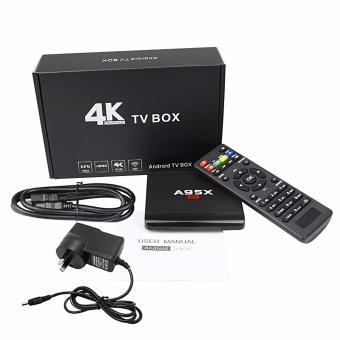 Harga A95X Quad Core Android 6.0 Smart TV Box 8GB Media Player 4K WiFi Fully Loaded(UK Plug) - intl