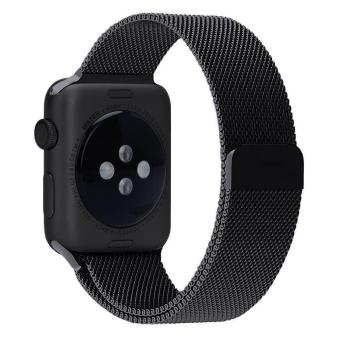 niceEshop 38mm Milanese Magnetic Loop Stainless Watch Band Strap Leather Loop For Apple Watch (Black) - intl Price Philippines