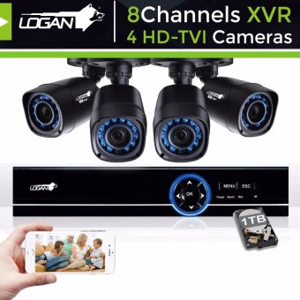 Harga Logan L-DXP841M-ND Video Security System with All in One HD DVR 8CH 1080N and 4 HD TVI Plastic Bullet CCTV Cameras 720P 1.0 Megapixel Weatherproof IP66 Night Vision Smartphone View with Toshiba 1TB HDD Included
