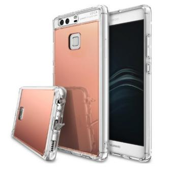 Huawei P9 Case, [FUSION MIRROR] Bright Reflection Radiant Luxury Mirror Bumper [Drop Protection/Shock Absorption Technology][Attached Dust Cap] For Huawei P9 - Rose Gold - intl Price Philippines