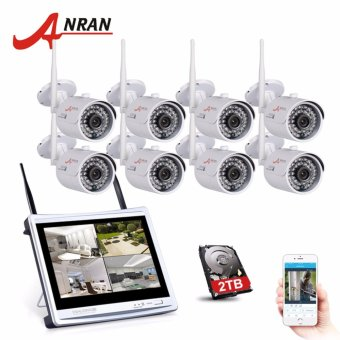 "ANRAN 8CH Wireless Surveillance System 12"" LCD NVR Kit P2P 720P HD IR WIFI IP Camera Outdoor Security Camera System 2TB HDD - intl Price Philippines"