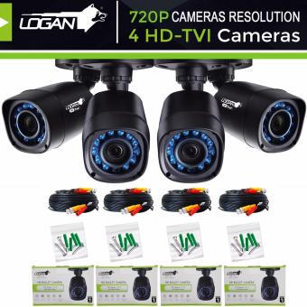 Harga Logan L-DX421M HD TVI Plastic Bullet CCTV Weatherproof IP66 Indoor/Outdoor 24IR LED 720P 1.0-Megapixel with 4pcs 60ft (18.3m) Video Cable Night Vision Replacement/Extra Cameras (Set of 4)-Only for LOGAN XVR KIT or TVI-DVI