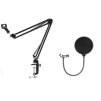 Harga Professional Recording Microphone Suspension Flexible Arm Stand Holder With Pop Filter Studio Microphone Mic Wind Screen Pop Filter Pop Screen