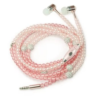 Harga LC Fashion Pearl Necklace Headset (Rose Gold)