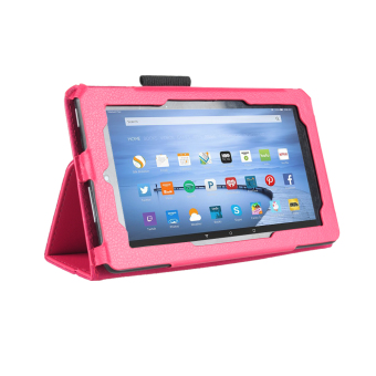 Harga PU Leather Flip Case Slim Fit Folio Stand Cover for Amazon Kindle Fire 7 (Hotpink) - Intl