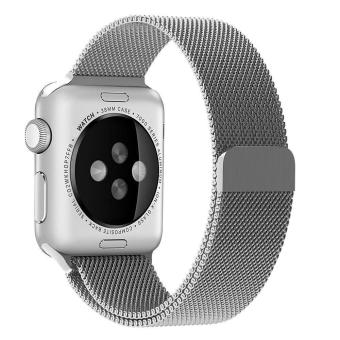 Harga niceEshop 42mm Milanese Magnetic Loop Stainless Watch Band Strap Leather Loop For Apple Watch (Silver) - intl