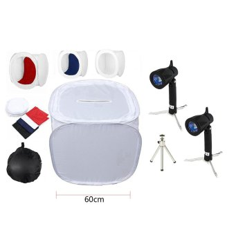 Heygo fashion,high-quality,60cm Professional Photography Photo Studio Light Cube Tent Soft Box including 4 Coloured Backdrops Black, Blue, Red and White 50W 3700K Continuous Lighting Kit Tripod + Carry Case - intl Price Philippines
