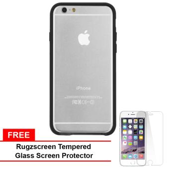 Casemate Tough Frame Hard Plastic Case for iPhone 6 (Black/Clear) With Free RugZscreen Tempered Glass Screen Protector Price Philippines