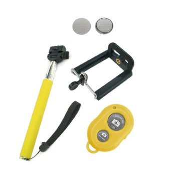 Monopod Selfie Stick with Clip, Bluetooth Camera Remote Shutter, and 2 Lithium Batteries (Yellow) Price Philippines