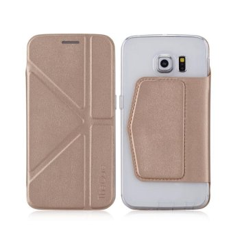 Harga MOMAX Versatile Stand Leather Shell for Samsung Galaxy S6 Edge G925 - Champagne - intl
