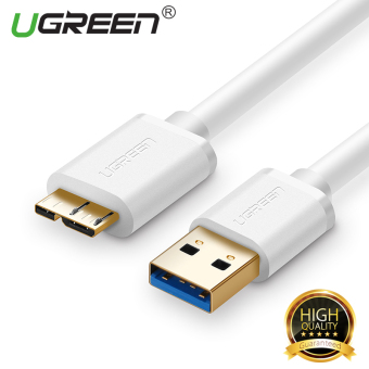 Harga UGREEN Micro-USB 3.0 Charging Data Sync Cable for Samsung Note3 S5 Toshiba Hard Disk - White,0.25m