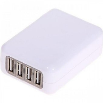 Harga USB Compact 4 Port AC Power Adapter Wall Charger (White)