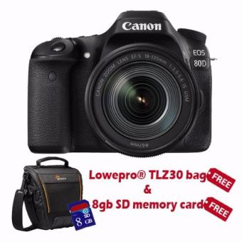 Canon EOS 80D Digital SLR Camera with EF-S 18-135mm f/3.5-5.6 IS USM with Free SD8GB and Lowepro Bag TLZ30