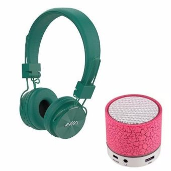 NIA-X3 108dB 4 in 1 Collapsible Wireless Bluetooth Over the Ear Headphone (Green) with S-10 Mini LED Bluetooth Speaker (Pink) Price Philippines