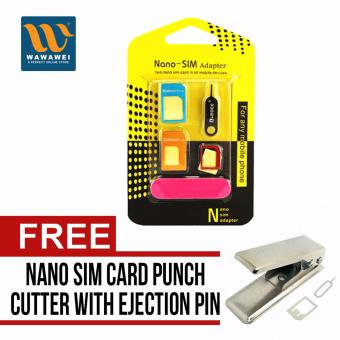 Harga Nano SIM Adapter Nano to Micro SIM Micro SIM to Standard SIM Card Adapter 5 IN 1 Tools Kit with free Wawawei Standard Sim to Micro Sim Card Punch Cutter with ejection pin & Micro to Sim Adapter for iPhone