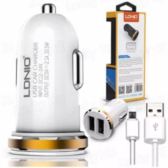 Harga LDNIO DL-C22 2-port USB Mini Bullet Universal Car Charger With Cable for Android Smart Phone (White/Gold)