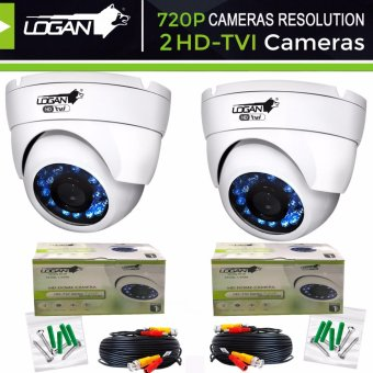 Harga Logan L-DX1M HD-TVI 720P 1MP Camera, Metal Dome, Indoor, 24IR LED, Night Vision 65ft (20m) –ONLY for LOGAN XVR KIT or TVI-DVR(White)Set of Two