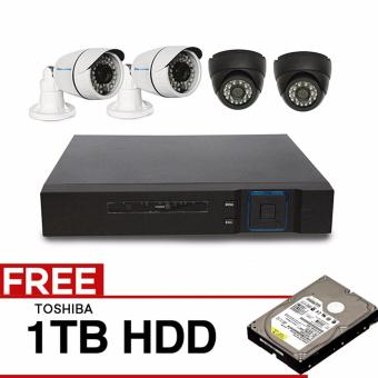 iSAFE HD4CHKITP4-BULLET & DOME High-Definition Security System CCTV Kit with 4 PCS 1.0-Mega Pixel Camera and 8 Channel High Quality DVR, Night Vision, Smart Phone and IOS Remote View Access and Easy USB Port Back-up with FREE TOSHIBA 1TB HDD Price Philippines