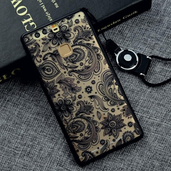 Harga Fashion Black Lace Phone Case 3D Relief Pattern Silicon TPU Phone Case Shockproof phone Cover For Huawei P9 Plus - intl